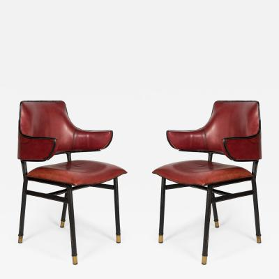 Jacques Adnet Pair of rare Stitched Leather armchairs by Jacques Adnet