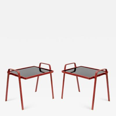 Jacques Adnet Pair of side tables in Stitched leather designed by Jacques Adnet