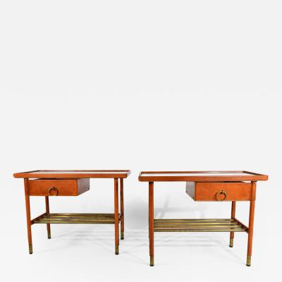 Jacques Adnet Pair of stylish side tables