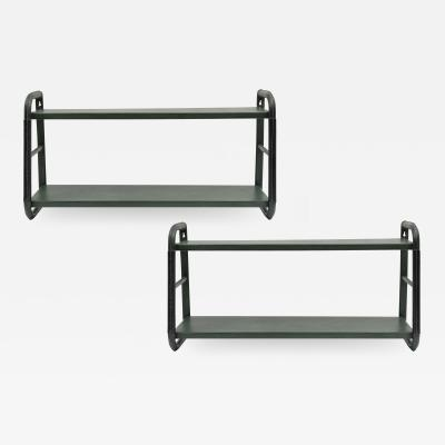 Jacques Adnet Pair of wall Shelves in Stitched Leather by Jacques Adnet