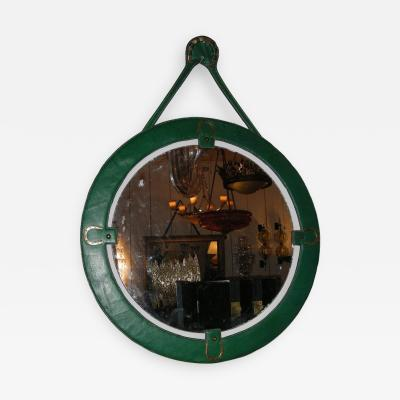 Jacques Adnet Rare 1950s Stitched leather Mirror by Jacques Adnet