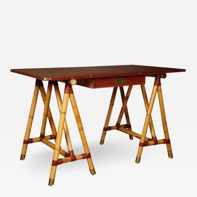 Jacques Adnet Rare Campaign Desk with Bamboo Base and Cognac Stitched Leather
