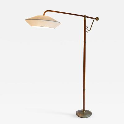 Jacques Adnet Rare Floor Lamp in Stitched Leather By Jacques Adnet