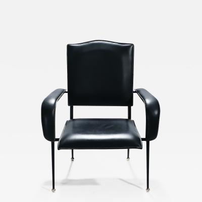 Jacques Adnet Rare French Jacques Adnet leather armchair 1950s