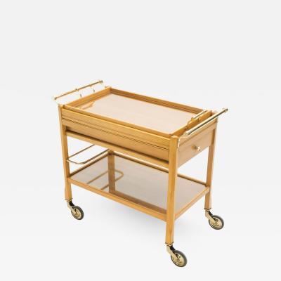 Jacques Adnet Rare Jacques Adnet art deco beechwood brass bar cart trolley 1940s