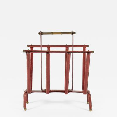 Jacques Adnet Rare Magazine Rack In Stitched Leather by Jacques Adnet