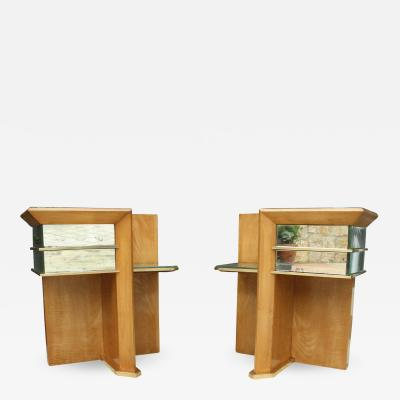 Jacques Adnet Rare Pair of Modernist Art Deco Side Tables Attributed to Jacques Adnet 1940
