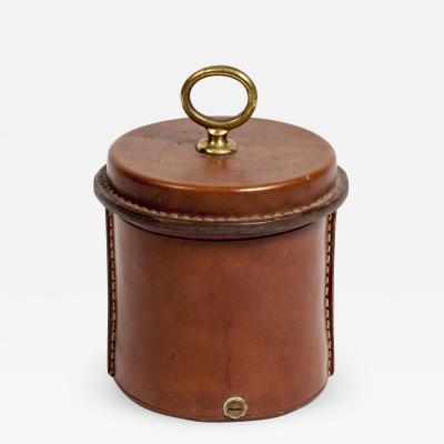Jacques Adnet Rare Stitched Leather Box by Jacques Adnet