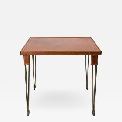 Jacques Adnet Rare Stitched Leather Game Table By Jacques Adnet