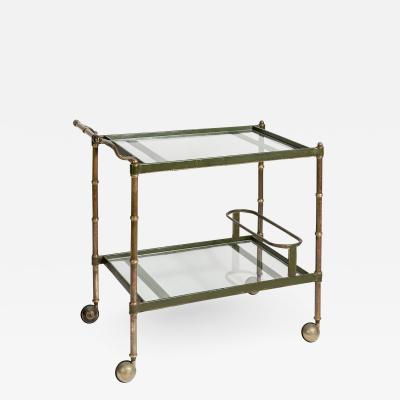 Jacques Adnet Rare Stitched leather Bar Cart by Jacques Adnet