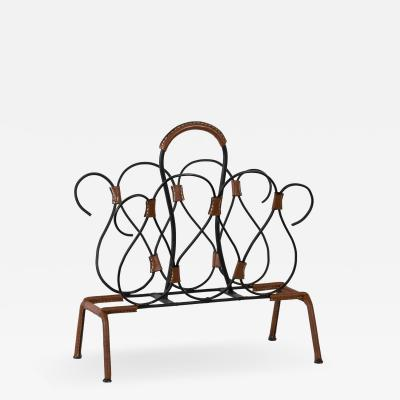 Jacques Adnet Rare Stitched leather magazines rack by Jacques Adnet