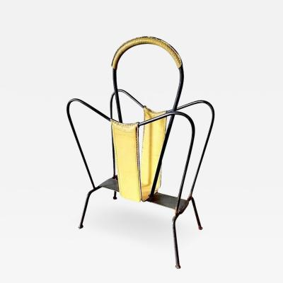 Jacques Adnet Rare Yellow Leather Adnet Magazine Rack