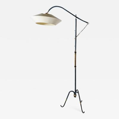 Jacques Adnet Rare floor lamp in blue stitched leather by Jacques Adnet