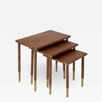 Jacques Adnet Rare set of Stitched Leather Nesting tables by Jacques Adnet