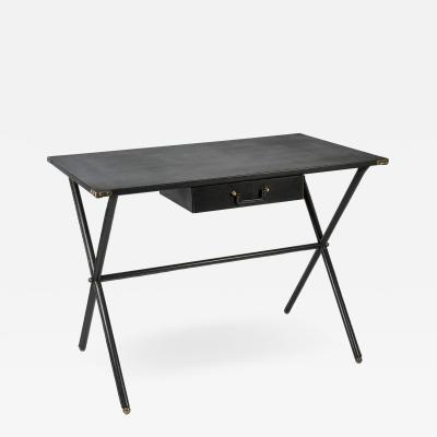Jacques Adnet Rare stitched Leather Desk By Jacques Adnet