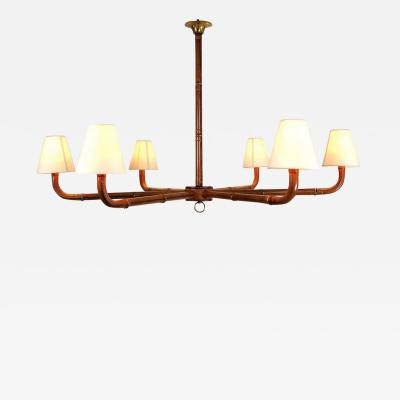 Jacques Adnet Rare stitched leather chandelier