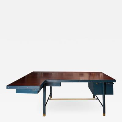 Jacques Adnet RareStitched blue Leather Adnet Desk