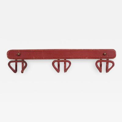 Jacques Adnet Red leather coatrack by Jacques Adnet circa 1950s