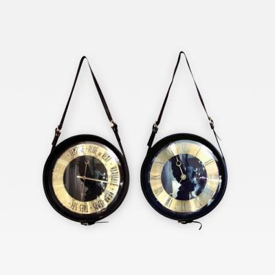 Jacques Adnet Round clock and barometer in black leather by Jacques Adnet France 1950