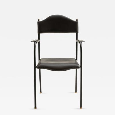 Jacques Adnet S 32 Stitched Black Leather Armchair by Jacques Adnet