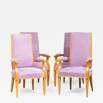 Jacques Adnet SET OF FOUR ART DECO BEECHWOOD ARMCHAIRS BY JACQUES ADNET