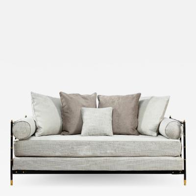 Jacques Adnet Saddle stitched black leather daybed Jacques Adnet Compagnie des Arts Fran ais