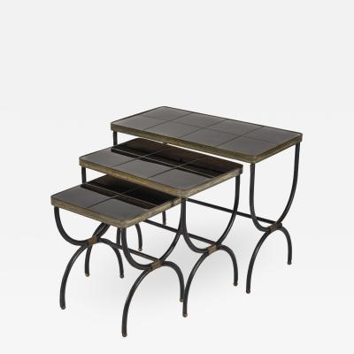 Jacques Adnet Set of 3 Nesting tables in Stitched Leather By Jacques Adnet