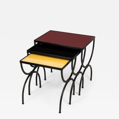 Jacques Adnet Set of Stitched leather Nesting tables by Jacques Adnet