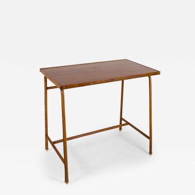 Jacques Adnet Side table in stitched leather with mahogany top by Jacques Adnet