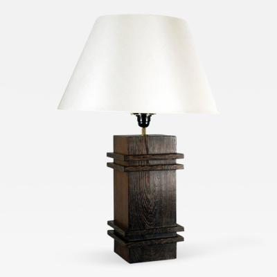 Jacques Adnet Square Pedestal Table Lamp by Jacques Adnet