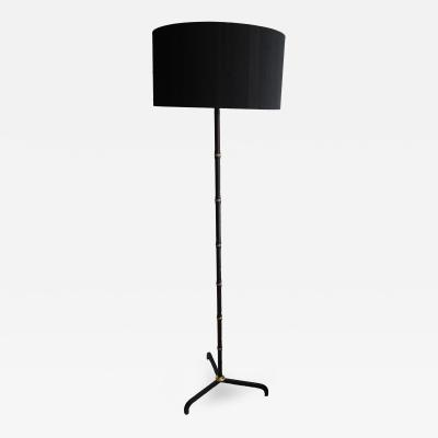 Jacques Adnet Stand Lamp in Stitched Leather