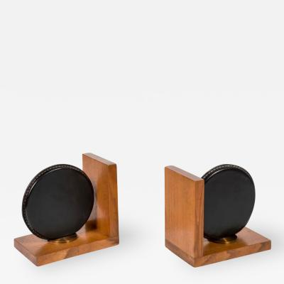 Jacques Adnet Stitched Leather Book End by Jacques Adnet