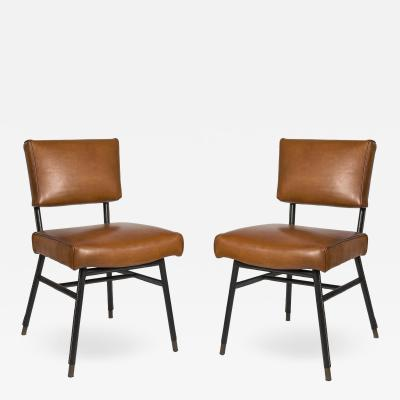 Jacques Adnet Stitched Leather Chairs By Jacques Adnet