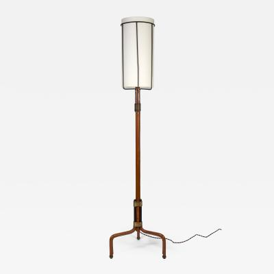 Jacques Adnet Stitched Leather Floor lamp By Jacques Adnet