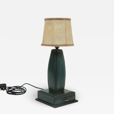 Jacques Adnet Stitched Leather Table Lamp by Jacques Adnet France 1950