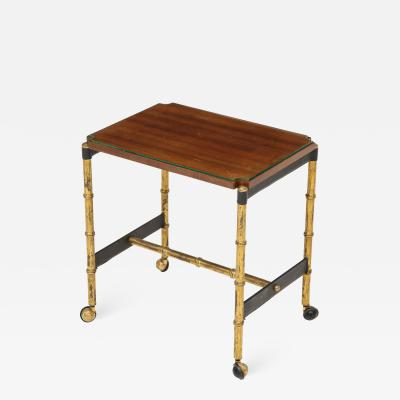 Jacques Adnet Stitched leather side table with mahogany top by Jacques Adnet