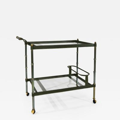 Jacques Adnet Stitched leather two tier trolley