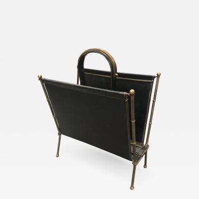 Jacques Adnet Stylish stitched leather and brass magazine holder by Jacques Adnet
