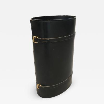 Jacques Adnet Stylish stitched leather and brass umbrella holder by Jacques Adnet