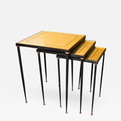 Jacques Adnet T 31 Set of Three Adnet Style Metal and Gilt Eglomise Nesting Tables