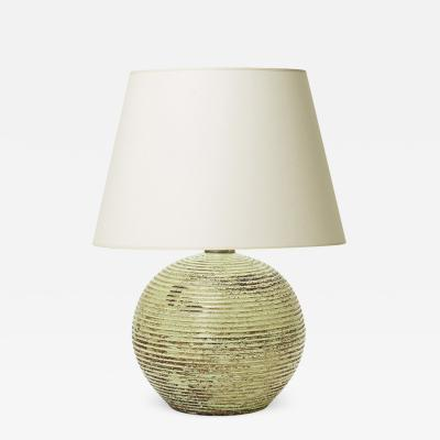 Jacques Adnet Table Lamps with Ridged Globe Base in Celadon Attrib to Jacques Adnet