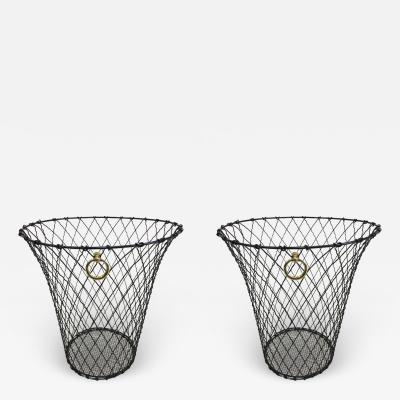 Jacques Adnet Two French Mid Century Modern Wire Waste Baskets Jacques Adnet