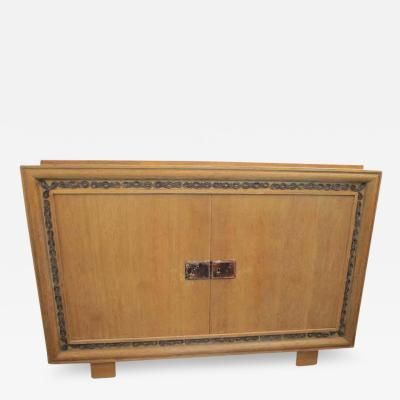 Jacques Adnet Unusual Jacques Adnet Sideboard in Cerused Oak