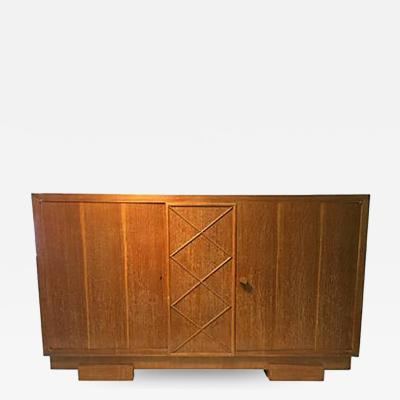 Jacques Adnet Unusual Sideboard or Cabinet in Cerused Oak attributed to Jacques Adnet