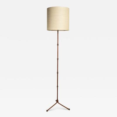 Jacques Adnet Very nice Bamboo and Stitched leather floor Lamp By Jacques Adnet