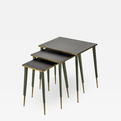 Jacques Adnet Very nice set of Stitched Leather Nesting table by Jacques Adnet