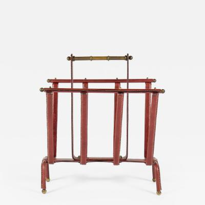 Jacques Adnet Very rare magasine rack in Stitched leather by Jacques Adnet