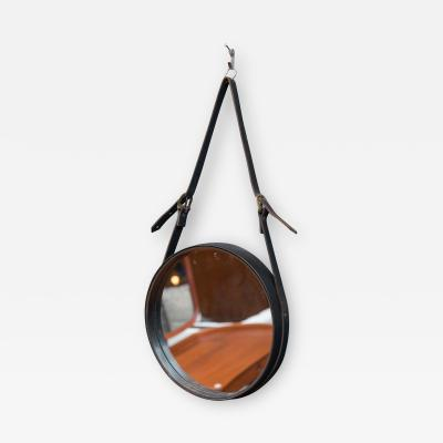 Jacques Adnet Vintage French Leather Wall Mirror