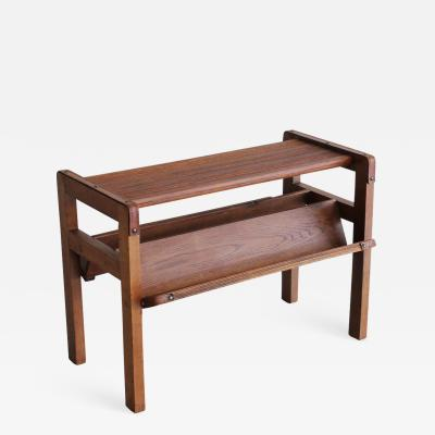 Jacques Adnet Wood and Leather Side Table by Jacques Adnet