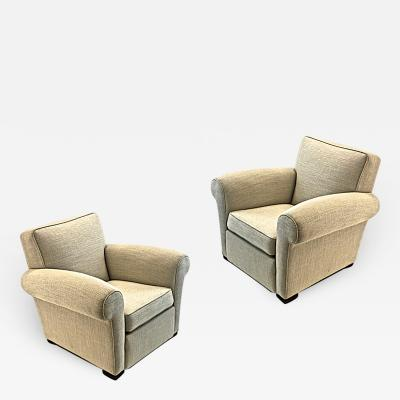 Jacques Adnet jacques Adnet pair of comfy club chairs newly covered in canvas cloth